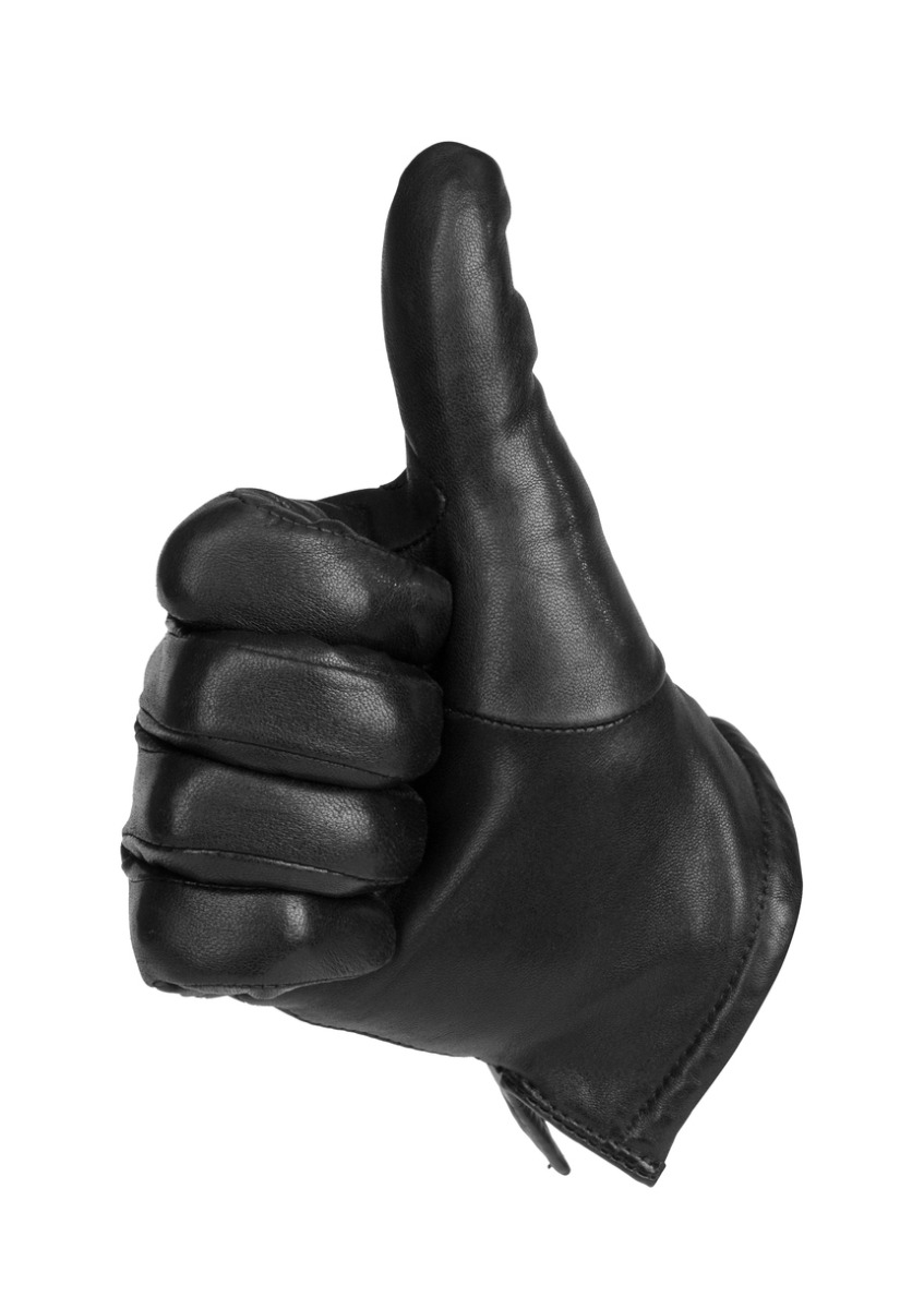 a black glove thumbs up wishing you luck for when you try to machine stitch leather together